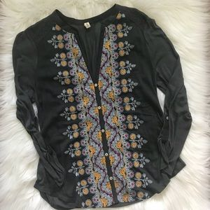 Anthropologie Embroidered Thin Buttoned Blouse